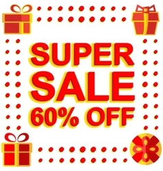 Big winter sale poster with super sale 60 percent vector