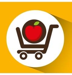 cart buy delicious food apple vector image