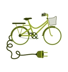 Green eco-friendly bike with plug vector