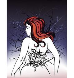 Girl with pumpkin tattoo vector