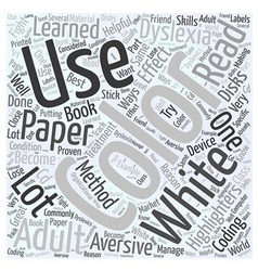 Adult dyslexia treatment using color word cloud vector
