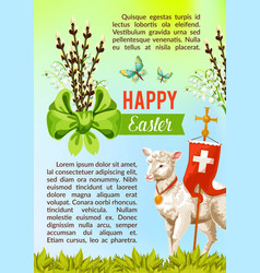 Easter greeting poster paschal eggs willow vector