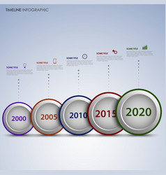 Time line info graphic with round labels vector