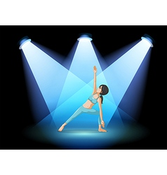A stage with a girl performing yoga at the center vector