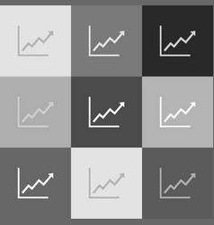 Growing bars graphic sign  grayscale vector