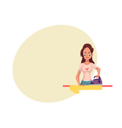 Pretty young woman housewife ironing linen shirt vector