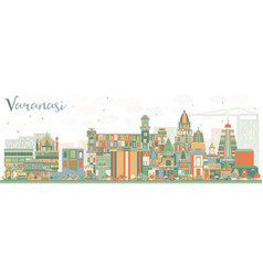 Abstract varanasi skyline with color buildings vector