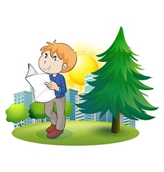 A man reading newspaper near the pine tree vector image