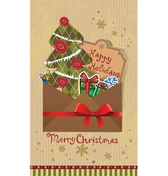 Scrapbook christmas greeting card vector