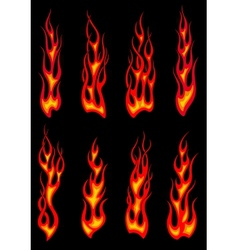 Tribal red flames icons vector