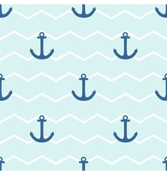 Tile sailor pattern with anchor on stripes vector