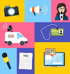 Journalism press news reporter set of journalism vector
