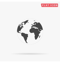 Globe earth simple flat icon vector