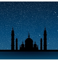 Silhouette of a mosque starry sky eps 10 vector