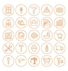Line Circle Building and Construction Icons Set vector image