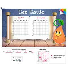 Sea battle board game vector