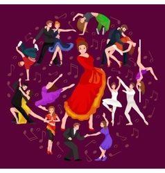 Girl flamenco dancer in red dress spanish vector