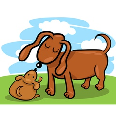 Puppy and his dog mom cartoon vector