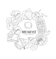 Breakfast food framing the text hand drawn vector