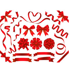 a set of various red ribbons vector image