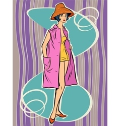 Beautiful retro girl in the sun hat vector