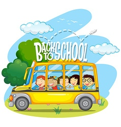 Children riding on yellow school bus vector image vector image