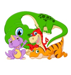 Collection set dinosaur with baby vector