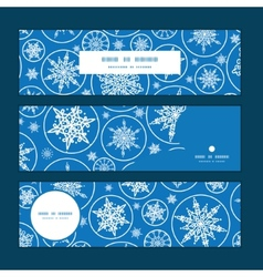 Falling snowflakes horizontal banners set pattern vector