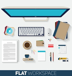 Flat design of office workspace top view of vector