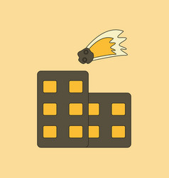 Flat icon stylish background meteorite falling on vector