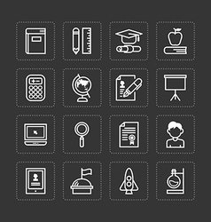 Flat icons set of education school tools vector