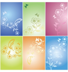 Floral flower and butterfly background vector
