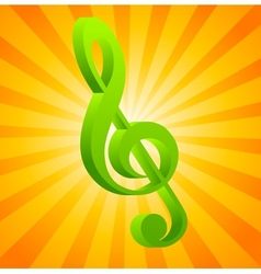 G clef on orange background vector image vector image