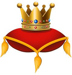 Gold crown on a crimson cushion vector