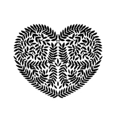 Hand drawn heart with branches vector image