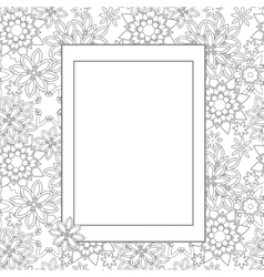 Hand drawn zentangle floral doodles with frame vector image vector image