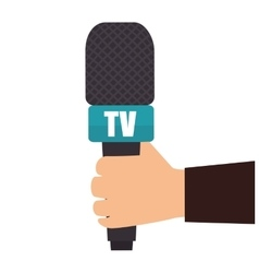 hand holding microphone tv news graphic vector image vector image