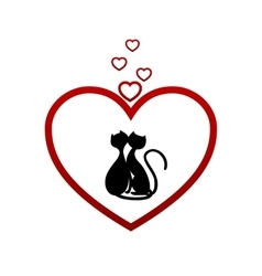 hearts cat vector image
