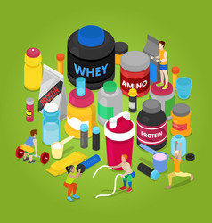 isometric sports nutririon elements vector image vector image