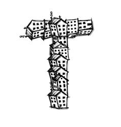 Letter t made from houses alphabet design vector