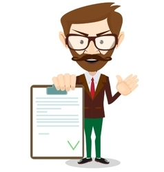 Man holding a document in which all approved vector