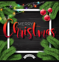 merry christmas on vintage wood vector image vector image