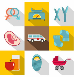 New baby born icon set flat style vector