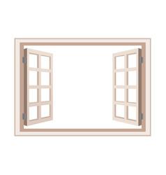 Open window frame wooden design vector