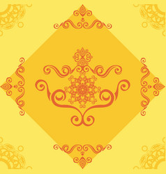 seamless pattern with yellow ornamental decor vector image