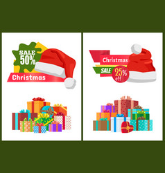 Set of ads christmas sale posters promo labels vector