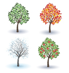 Set of Apple Trees vector image vector image