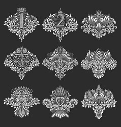 set of ornamental elements for design in coats of vector image vector image