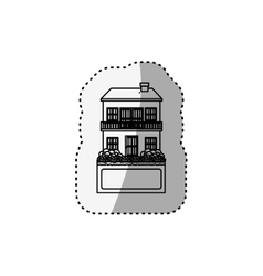 Sticker silhouette house with two floors and vector