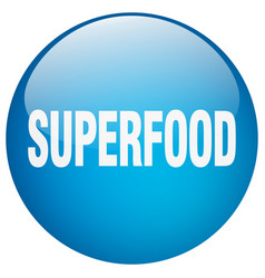 Superfood blue round gel isolated push button vector